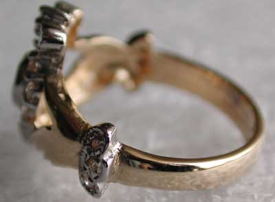 This is the all white gold. This person chose a gemstone quality